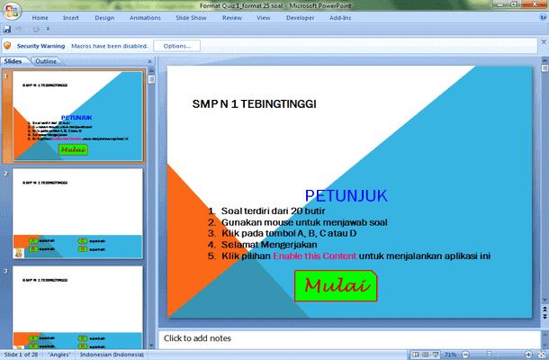 Template Format Quiz Soal Interaktif Microsoft PowerPoint