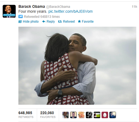 "Barack Obama's famous tweet ""Four more years"""