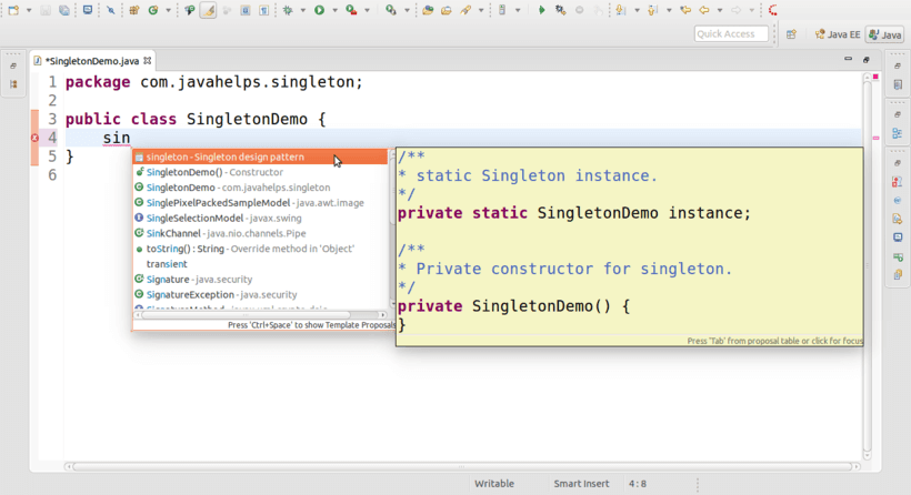 Singleton Template For Eclipse