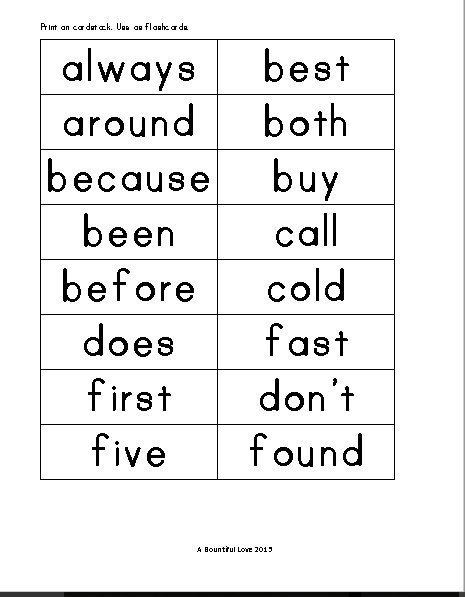 46 Dolch Sight Words For Second Grade A Bountiful Love