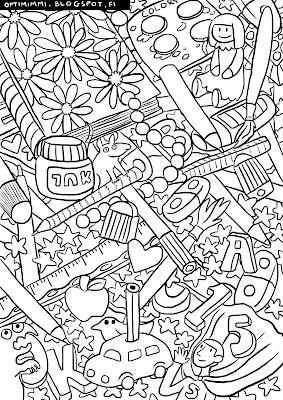 A coloring page of a mouse with pencils, notebooks and school-related stuff / Värityskuva hiirestä, joka on keskellä kyniä, vihkoja ja koulutarvikkeita