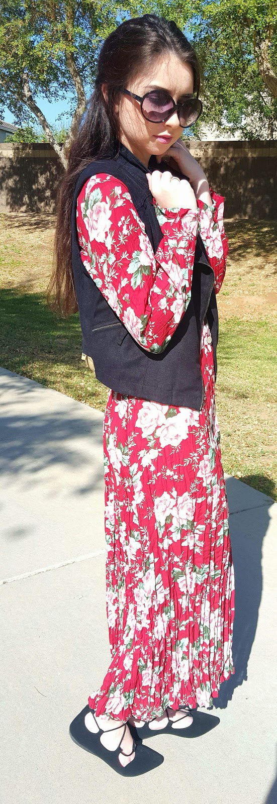 Spring transition outfit- maxi dress with suede vest