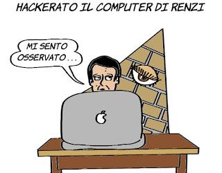 cyberspionaggio, eyepyramid, renzi, draghi, monti, spionaggio informatico, virus, vignetta, satira