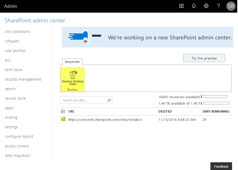 sharepoint online restore deleted site collection