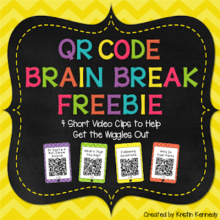 FREE QR Code Brain Break Videos. Find this and tons of other free ideas and activities for using QR codes in the elementary classroom at the iTeach 1:1 blog. You'll find freebies for using QR codes in math, reading, for scavenger hunts, self-checking task cards, listening centers and more!