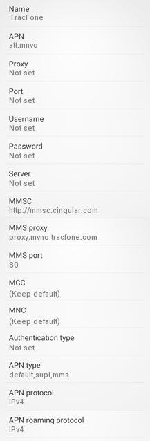 TracFone / Straight APN Settings for Android /HTC/Nexus/ Samsung Galaxy s4: