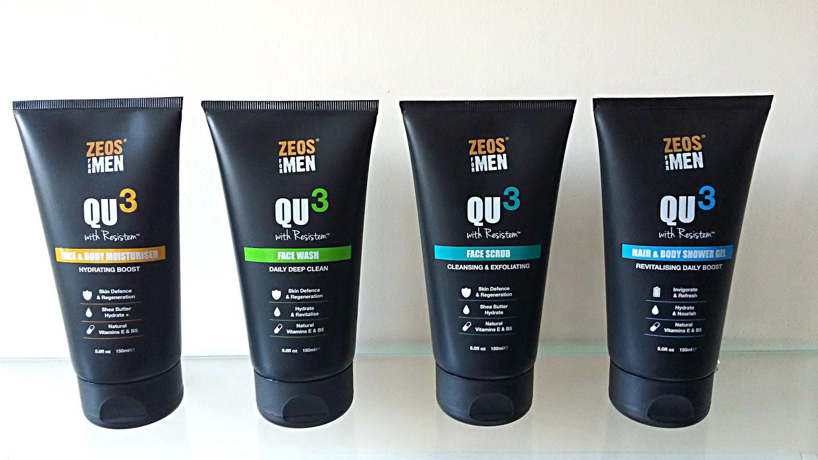 Zeos for Men QU3 Skincare range