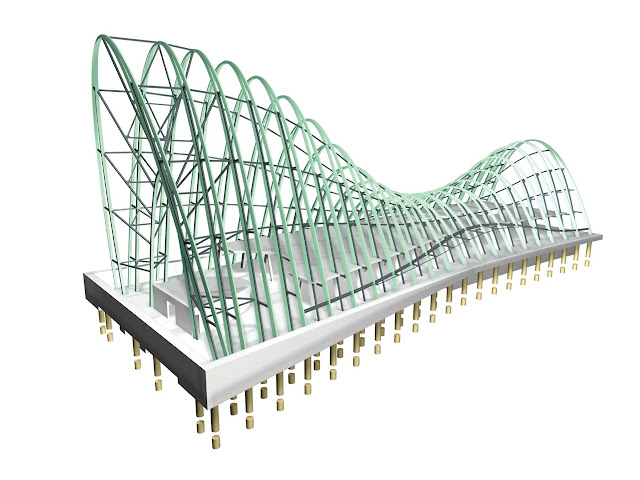 Illustration of steel structure for the new modern church