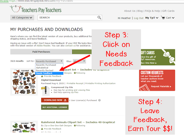This image shows steps 3 and 4 of how to leave feedback.