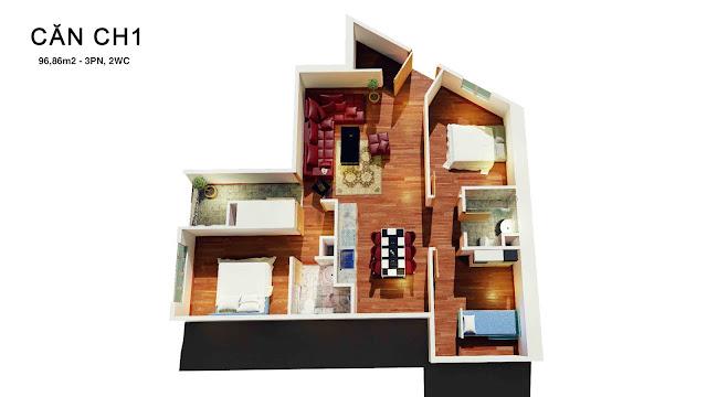 Thiết kế căn hộ 01 tháp doanh nhân