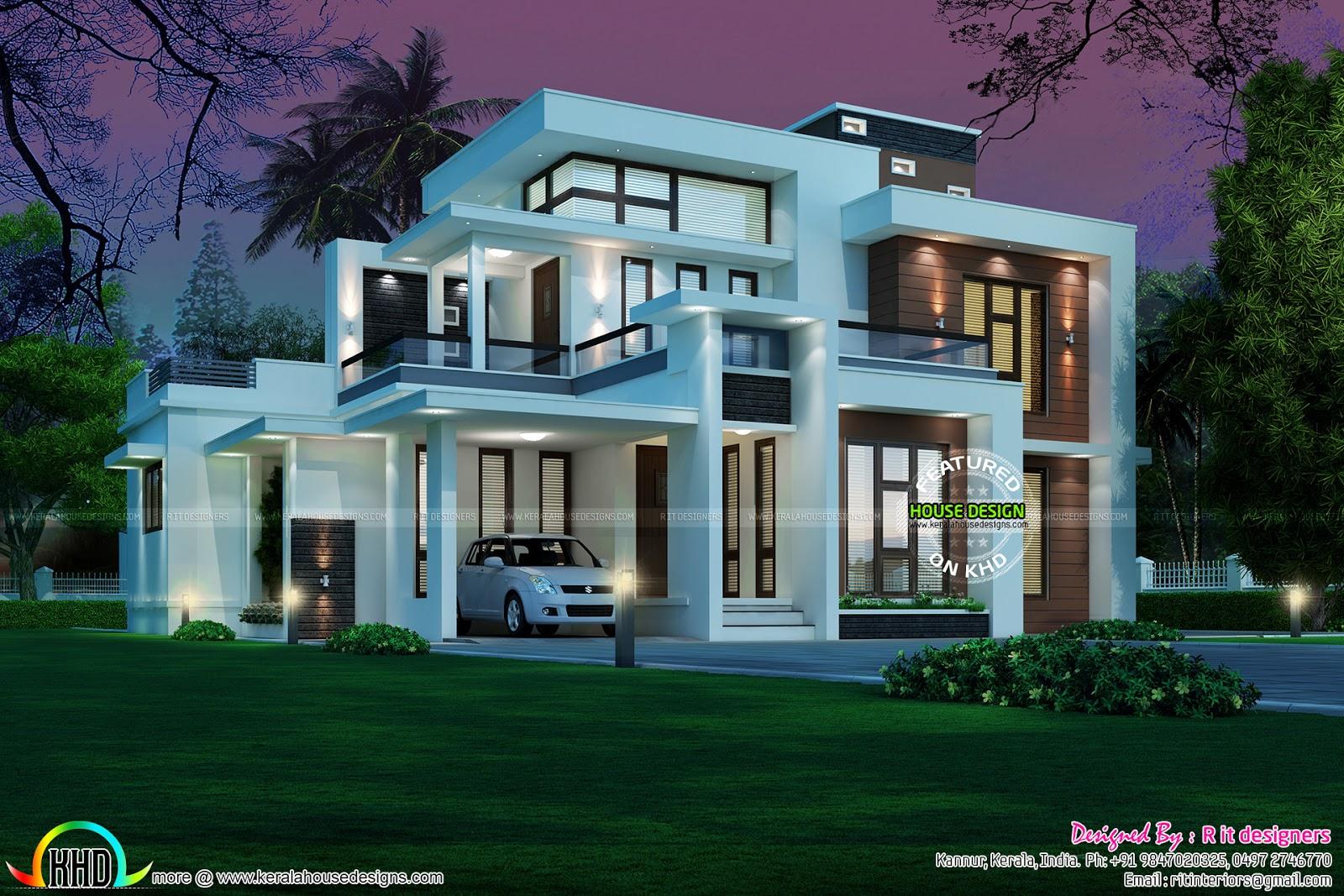 Box model contemporary 2215 sq ft 45 lakhs kerala home for Contemporary model houses in kerala