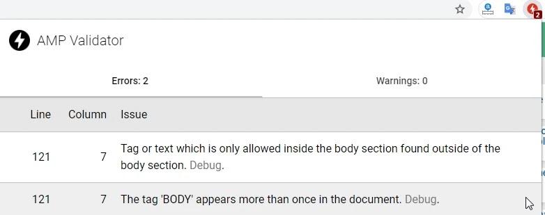 Sửa lỗi thẻ BODY xuất hiện nhiều lần trong tài liệu cho blogspot AMP