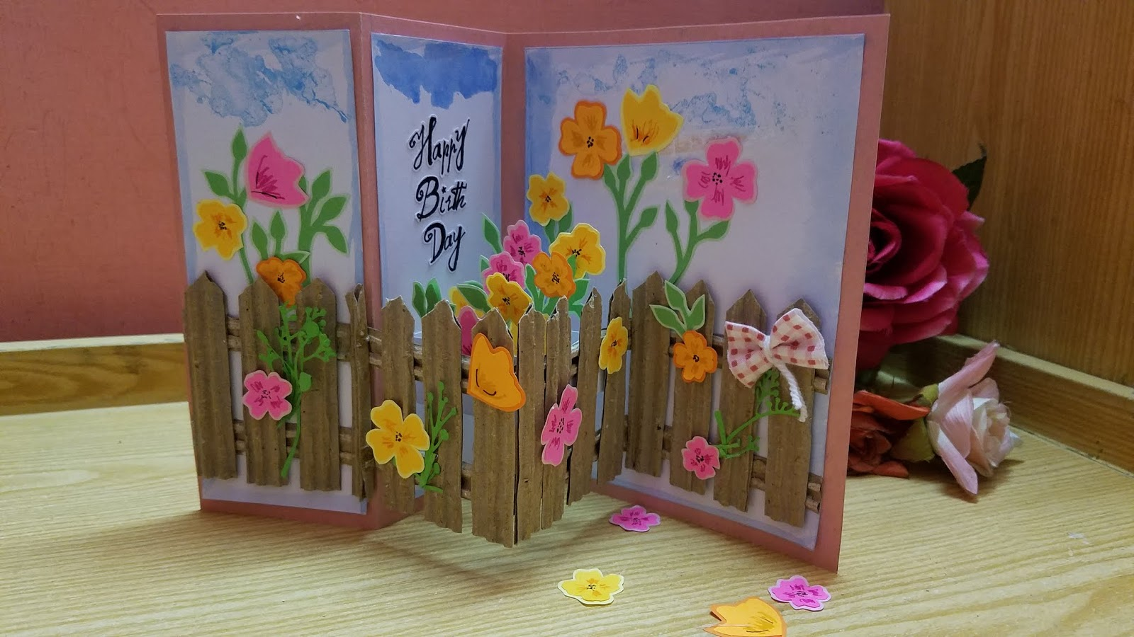 Remarkable Gs Craft Popup Flowery Garden Happy Birthday Greeting Card Idea Funny Birthday Cards Online Fluifree Goldxyz