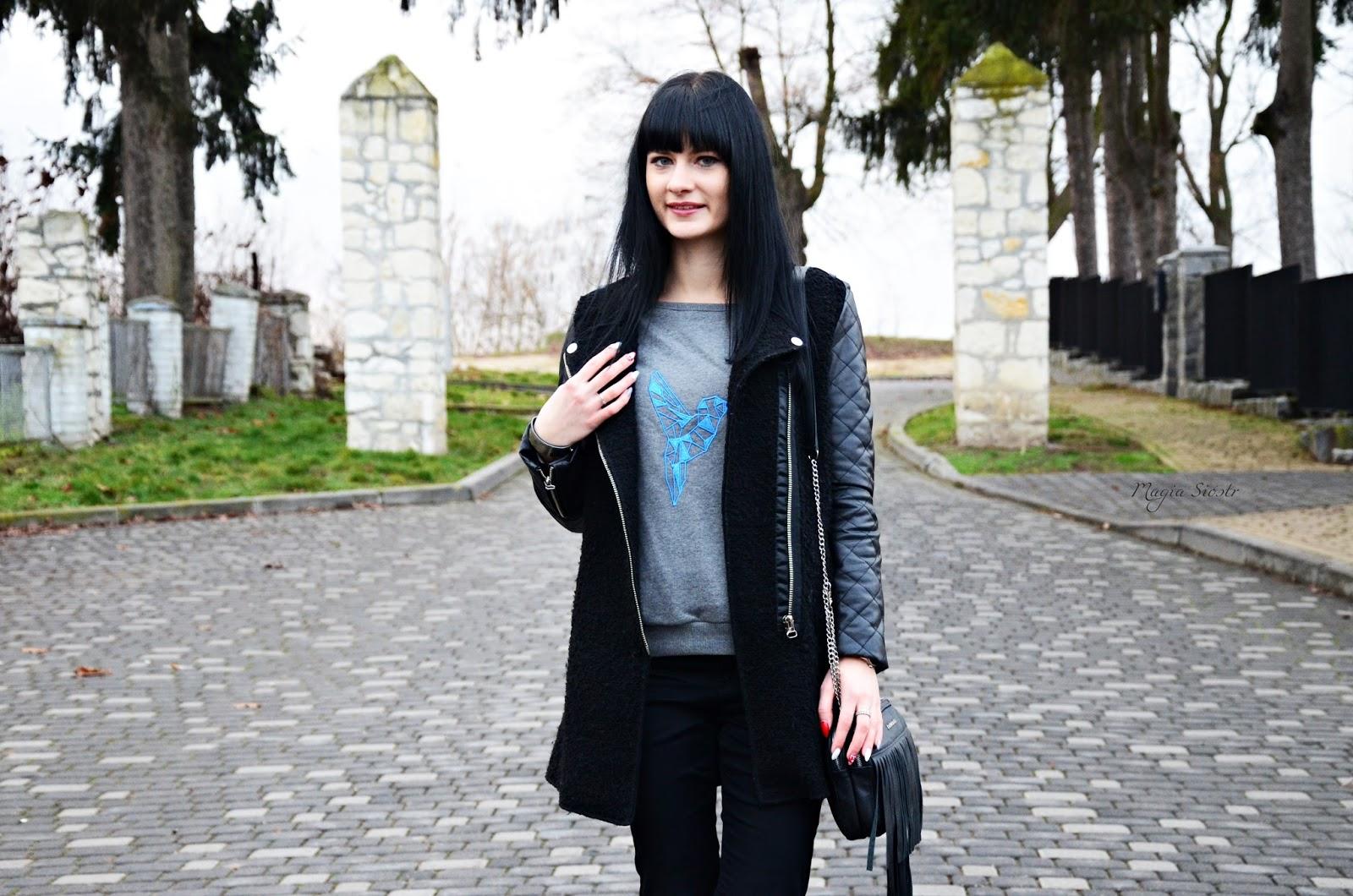 czarny płaszcz ze skórzanymi rękawami, płaszcz jesienny