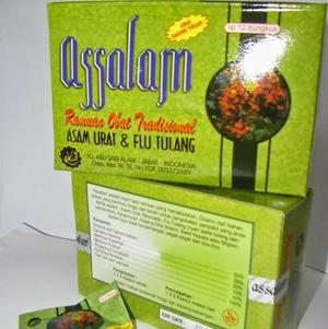 jual jamu assalam original dus logo mui warna merah di surabaya