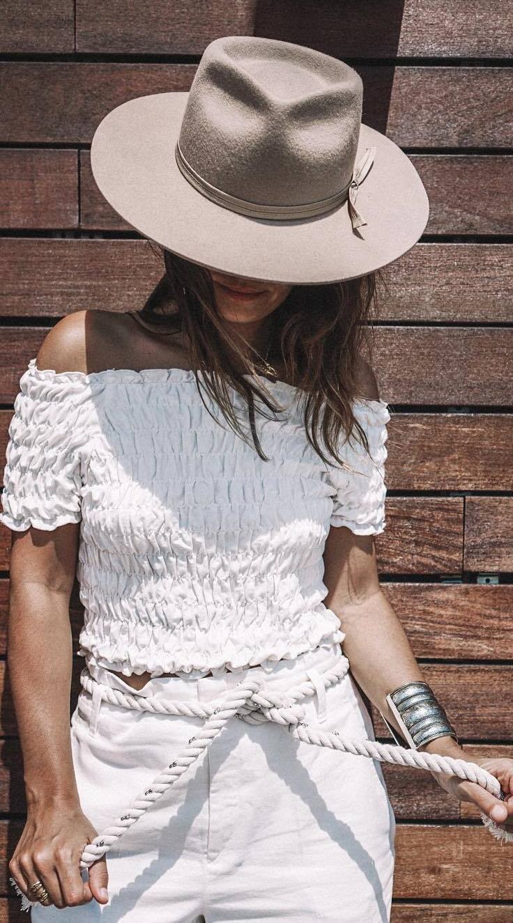 boho style outfit idea: hat + top + shorts