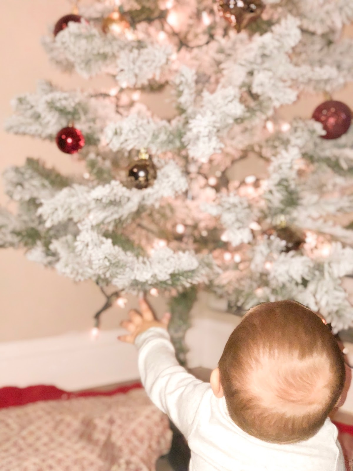 shatterproof ornaments, baby and christmas tree, baby's first christmas