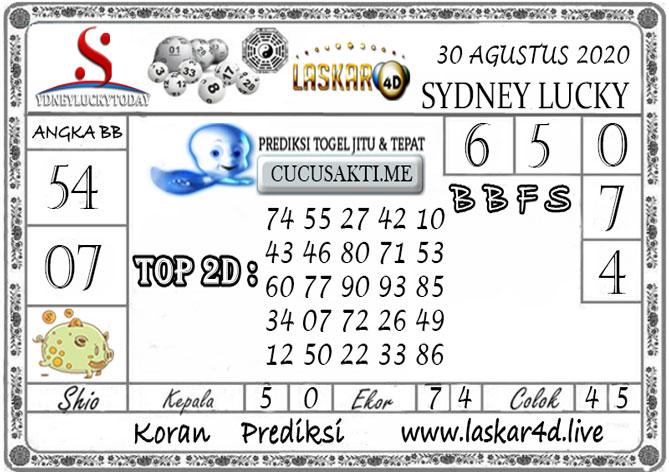 Prediksi Sydney Lucky Today LASKAR4D 30 AGUSTUS 2020