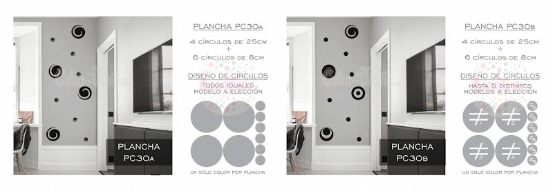 vinilo decorativo pared planchas circulos distintos tamaños