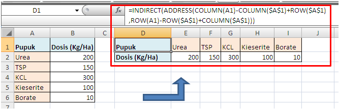 Contoh Rumus INDIRECT ADDRESS untuk Transpose Data Excel