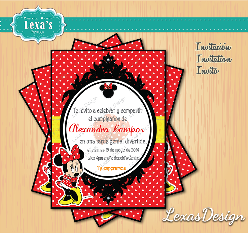 Invitaciones fiestas Minnie Mouse gratis