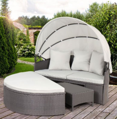 Miadomodo Polyrattan Sun Lounger with Foldable Roof Day Bed, Round Outdoor Daybeds UK, Outdoor Daybeds UK, Daybeds UK, Outdoor Daybeds at Amazon.co.uk, Amazon.co.uk, Best Outdoor Daybeds, Outdoor Furniture, Quality Outdoor Daybeds,