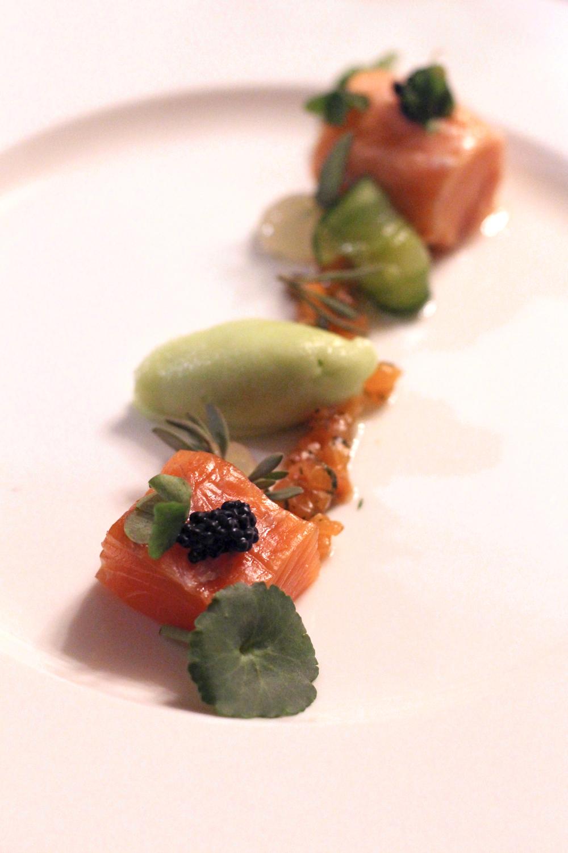 Salmon starter at Rushton Hall, Northamptonshire - UK luxury travel blog
