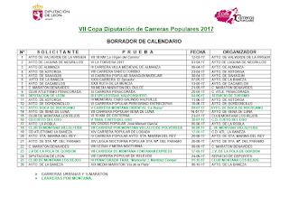 Calendario Carreras Copa Diputacion 2017