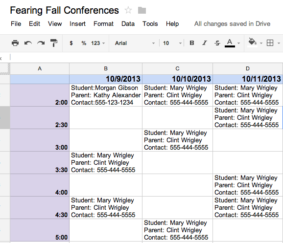 One Year I Created A Google Spreadsheet And Shared It With My School Secretary Parents Were Told To Email Me Or Call The Schedule Time Meet