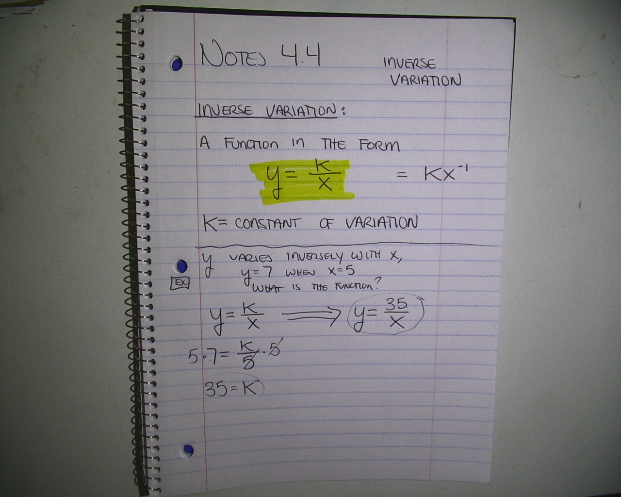 Mr Brzenski S Math Class Notes 4 4 And 4 5 Direct And
