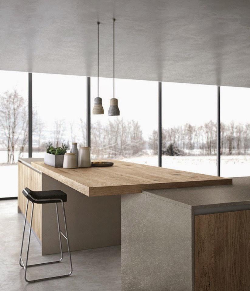30 modelos de mesas y barras para cocinas de todos los for Barra cocina madera