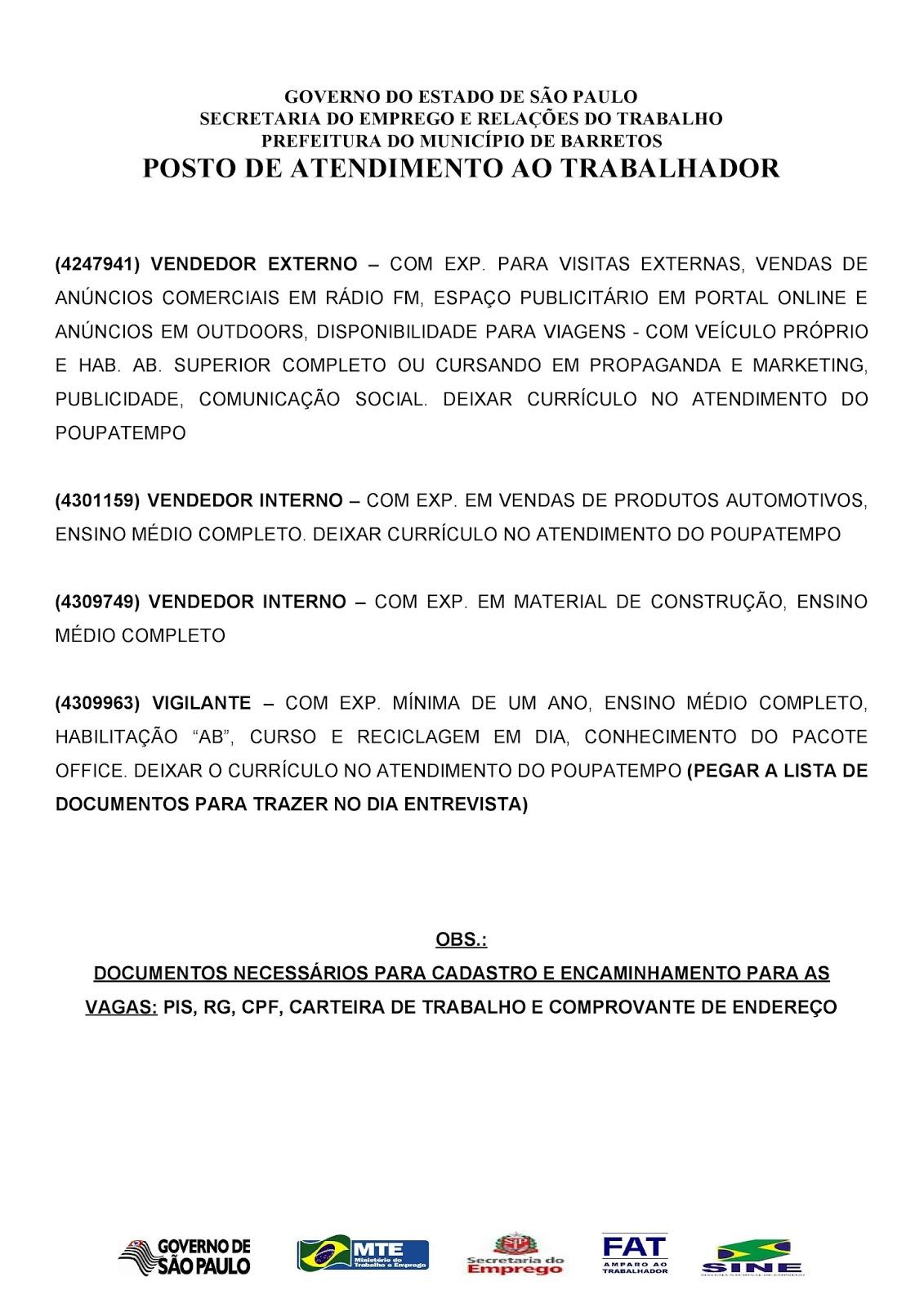 VAGAS DE EMPREGO DO PAT BARRETOS-SP PARA 23/11/2017 QUINTA-FEIRA - Pag. 3