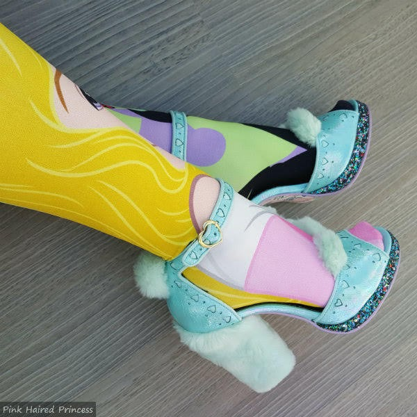 furry heeled shoes worn with Sleeping Beauty Disney colourful tights