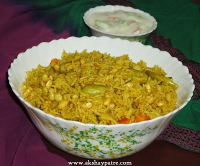 pressure cooked to make Soya beans pulao