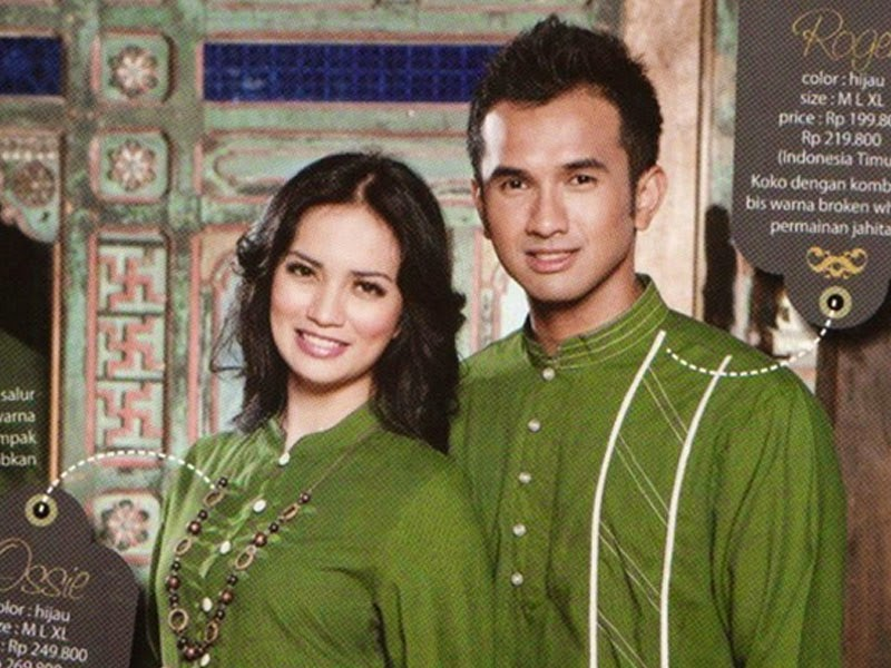 beeyoung Baju Muslim Couple 1 KOMBINASI HIJAU LUMUT