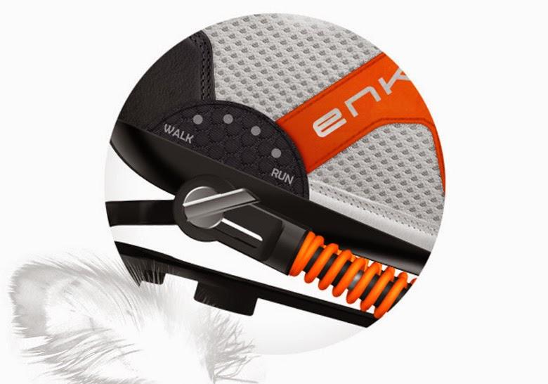 6e43173f0c A alavanca do lado permite ao usuário ajustar a tensão da mola para uso em  caminhadas ou corridas. Além disso