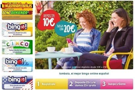 bono de bienvenida tombola para jugar al bingo online desde España