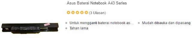 harga baterai laptop asus a43 series