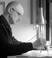 Michael Garaway using compasses in the studio