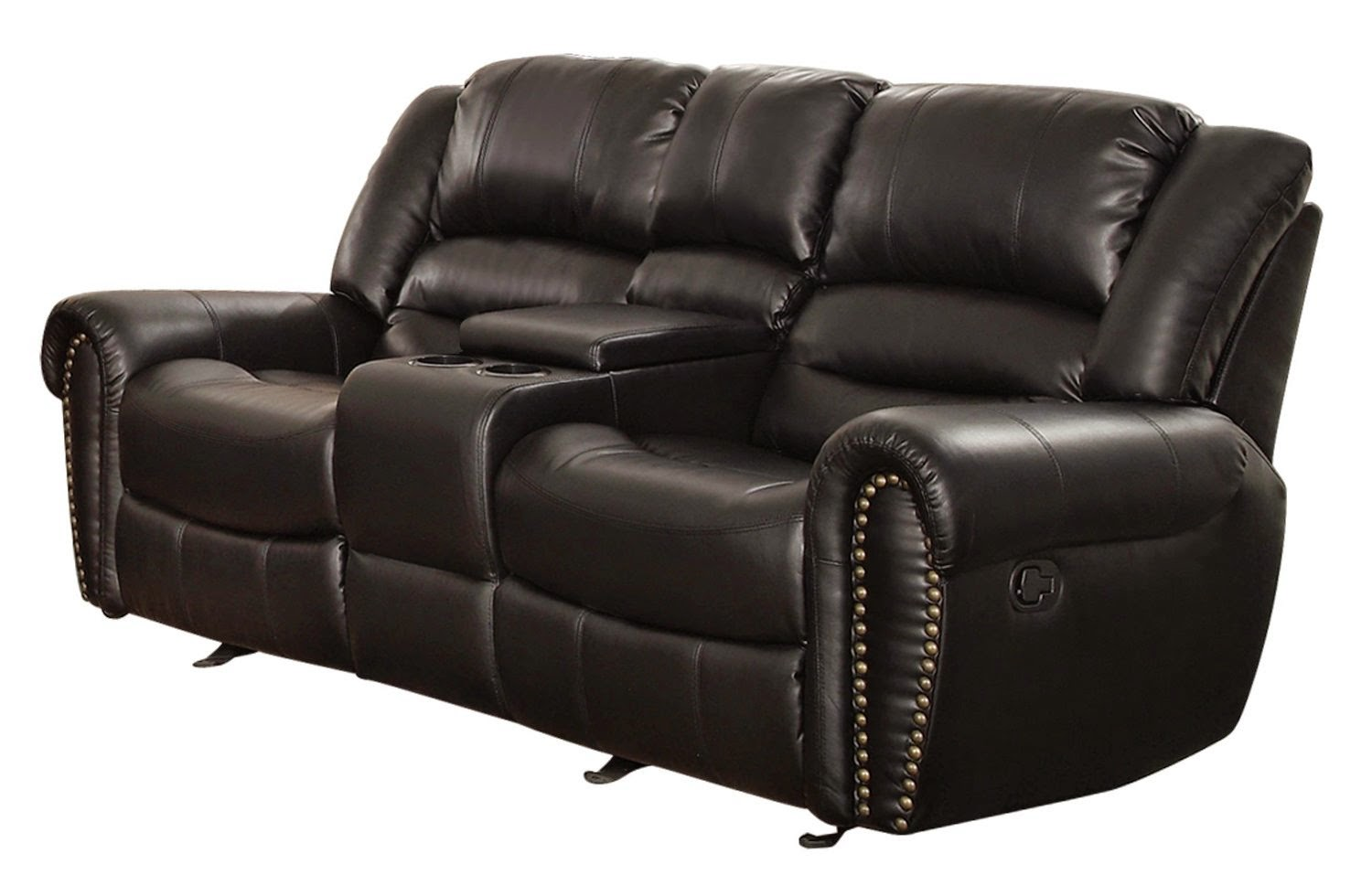 two seater sofa recliner american leather studio reviews black 2