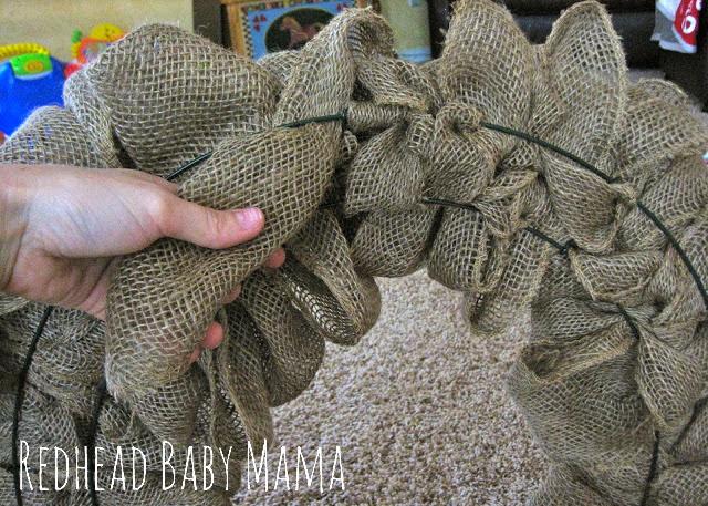 Burlap Wreath Tutorial - Redhead Baby Mama
