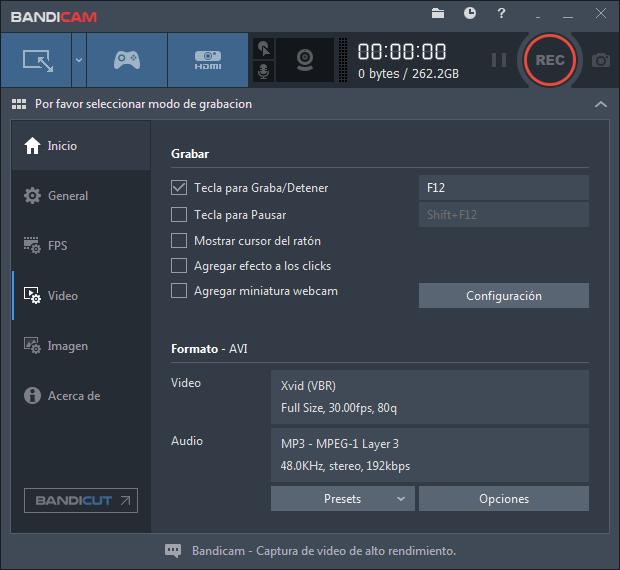 Bandicam Español Grabación para captura de pantalla juegos y cámaras web