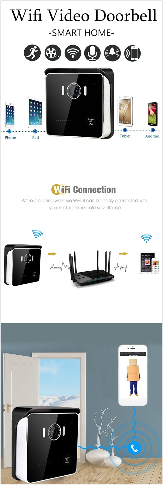 881c4c02781 To Buy It Click Here Specification: Color: Black Resolution: 1280x720  LensAngle: 92° IR range: Approx. 3 - 5m Wifi: Support Night vision: Support  IP Level: ...