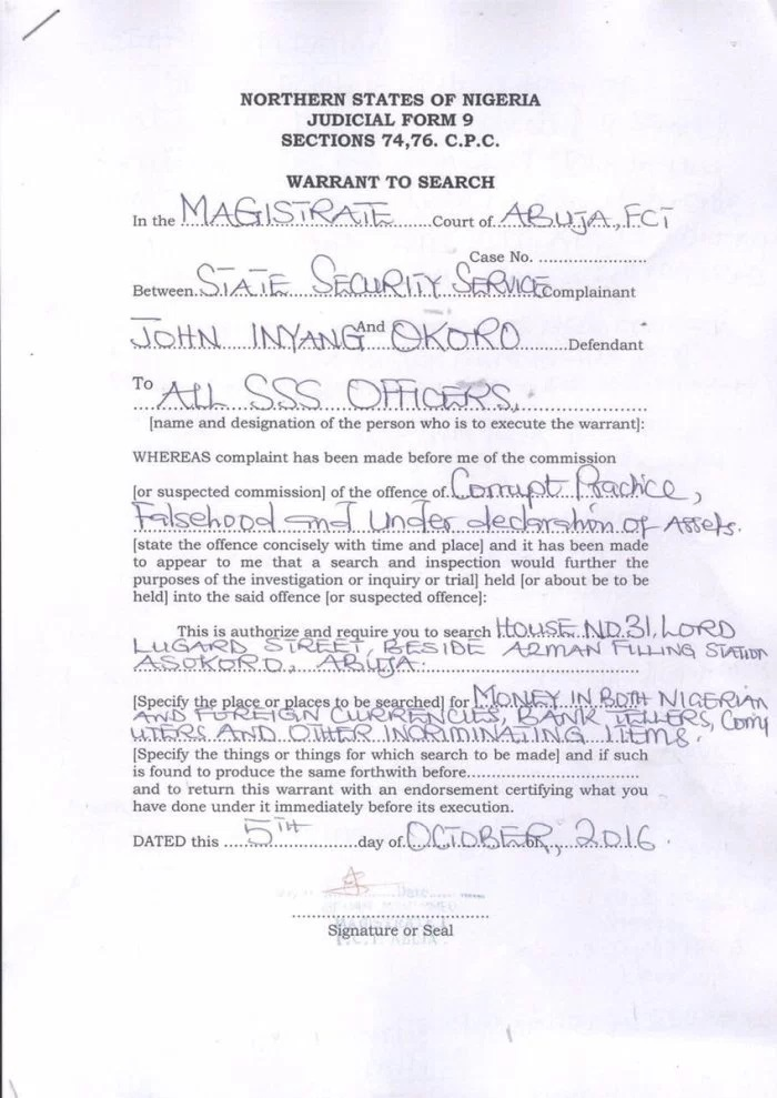 DSS Corrupt Judges Invasion: See Copies Of Court ISSUED Search Warrants Against The Judges