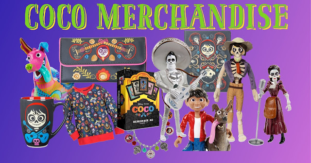 A collection of Disney Store Coco merchandise