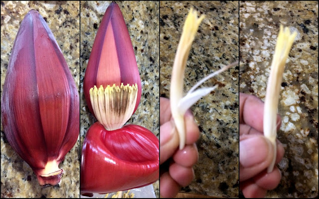 images of How to clean Vazhaipoo / Banana Flower / Plantain Flower / Banana Blossom