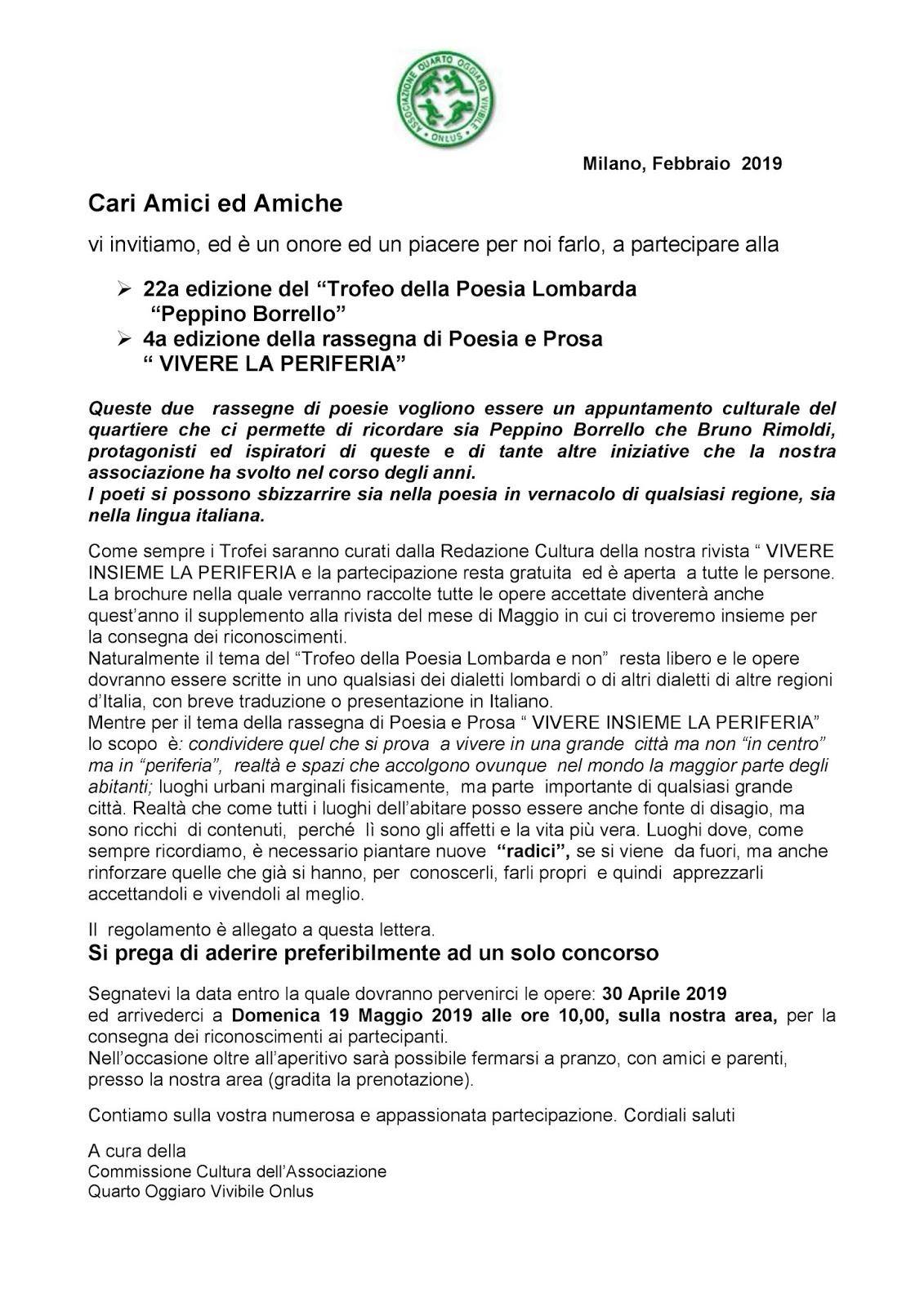 Associazione Quarto Oggiaro Vivibile Febbraio 2019