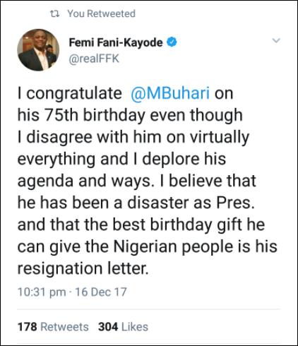 Fani Kayode's tweet