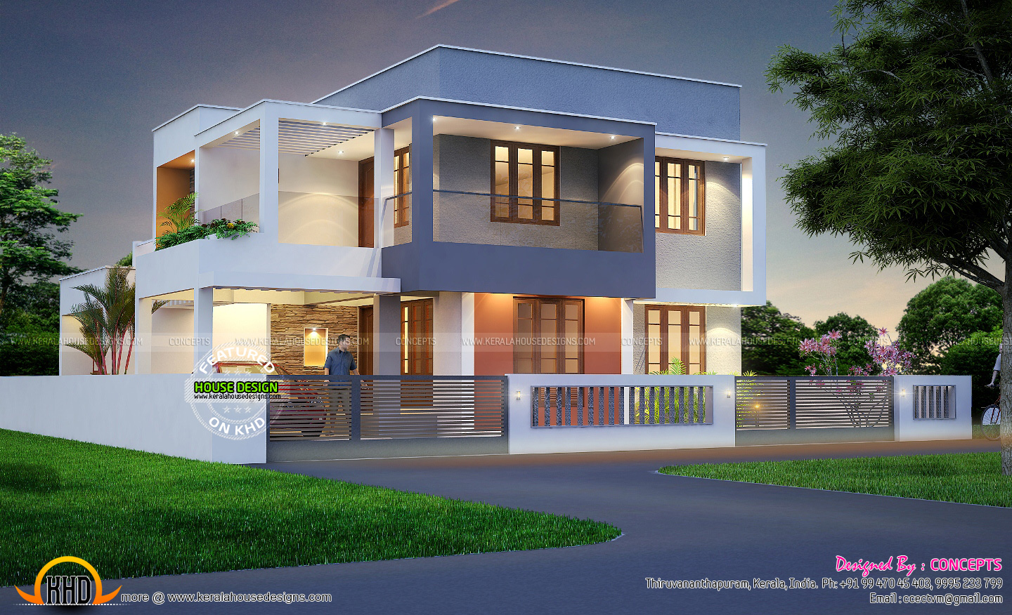 4 bhk house with plan kerala home design and floor plans for Home plans with a view
