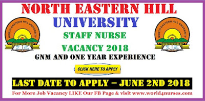 North Eastern Hill University Staff Nurse Vacancy 2018